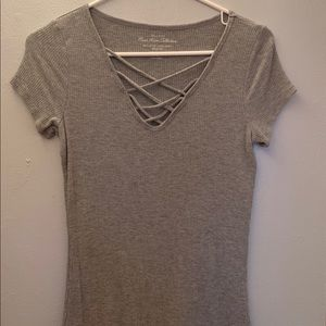 strappy neck t shirt